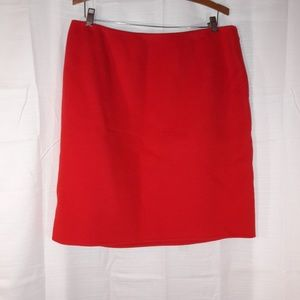 Red 100%wool skirt knee length size 16